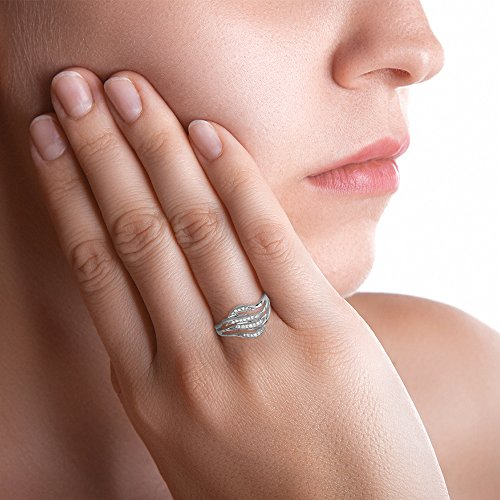 Tous mes bijoux - Bague motif - Or blanc 9 cts - Diamant 0.14 cts - BAFI01024