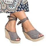 Nailyhome Womens Summer Wedge Sandals Espadrilles Heels Platform Sandal Shoes
