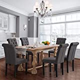 Homy Grigio Aristocratic Style Dining Chair Noble and Elegant Solid Wood Tufted Dining Chair Dining Room Chair (Set of 6 Charcoal)