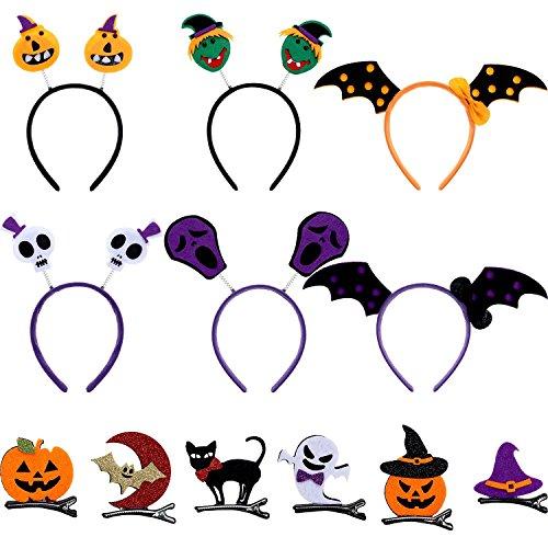 oween Hair Accessories Skull Bat Pumpkin Ghost Pattern Halloween Headband Head Bopper Hair Clip for Kids Halloween Costume Party Decoration ()