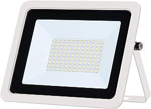 Focos LED Exterior 100W 50W 30W 20W 10W Reflector blanco ultrafino Foco de luz de inundación Exterior 230V Exterior IP68 Luces de seguridad impermeables para Jardín, Garaje, Campo Deportivo