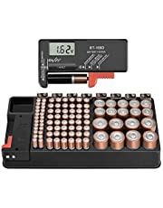 The Battery Storage Organizer Case and Battery Tester, Holds 110 Batteries Various Sizes for AAA, AA, 9V, C, D and Button Battery