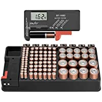 The Battery Storage Organizer Case and Battery Tester, Holds 110 Batteries Various Sizes for AAA, AA, 9V, C, D and…