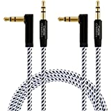 CableCreation [2-PACK] 3 Feet 3.5mm Auxiliary Audio cable 90 Degree Right Angle for Apple iPhone, iPod, iPad, Samsung,Smartphones & Tablets and Speakers,24K Gold Plated, Black & White