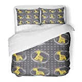 SanChic Duvet Cover Set Yellow Baby with Little Giraffes on Navy Blue Beige Abstract Africa Decorative Bedding Set with 2 Pillow Shams Full/Queen Size