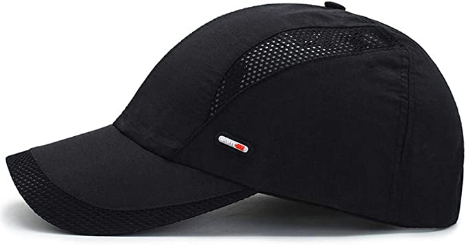 Ohrwurm Men Summer Quick-Dry Mesh Thin Flat Top Military Army Sun Protect Buckle Hat Cap Grey