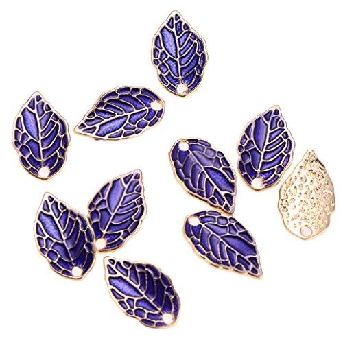MagiDeal 10pcs Purple Enamel Leaf Pendant DIY Charms Beads fit Necklace Bracelet