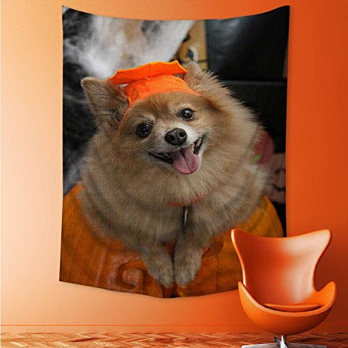 (AuraiseHome Halloween Costume Puppy Tapestry Coverlet Curtain 70W x 93L)