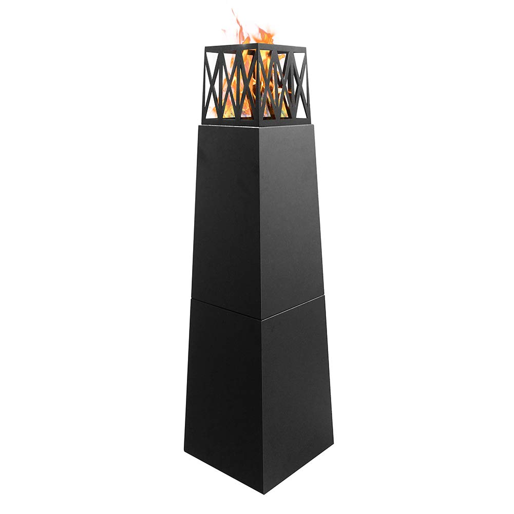 Skypatio Free Standing Ethanol Fireplace, Pyramid Outdoor Patio Heater Firepit, Realistic Brightly Burning Flame,Ventless,Weather Resistant, Black,57Inch by Skypatio