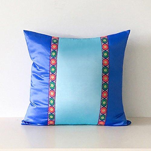 HOMEE I Love the Artist'S Original Mediterranean Living Room Blue Tower Poplin Stitching of Minimalist Solid Color Pillow Sofa Cushion ,30X50Cm, Birds Blue,Royalblue,60X60cm