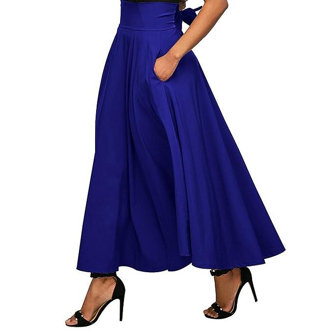 iBaste Falda Largas Vintage Mujer Alta Cintura la Altura del Tobillo Enaguas Plisada Enaguas Bolsillos laterales
