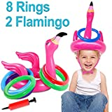 2 Pack Inflatable Flamingo Ring Toss Game Pool Party Toy for Kids, 8 Pieces Inflatable Rings for Pool Beach Luau Party Supplies, Lawn Games for Kids Adults Family Reunion or Summer Get-Together