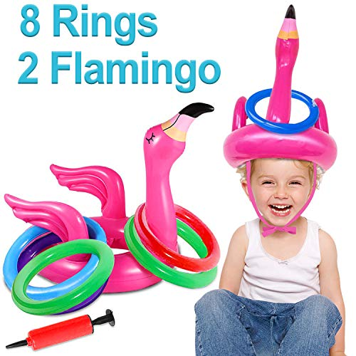 2 Pack Inflatable Flamingo Ring Toss Game Pool Party Toy for Kids, 8 Pieces Inflatable Rings for Pool Beach Luau Party Supplies, Lawn Games for Kids Adults Family Reunion or Summer Get-Together]()