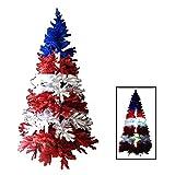 red christmas tree BOSS Creations Christ-mas 7 Ft Red White & Blue Christmas Tree w/Light Up Cross