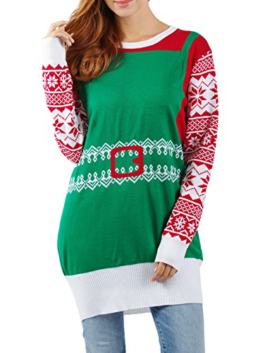 Knitted Jumper Dress - RAISEVERN Womens Green Ugly Christmas Snowflake Knitted Sweater Casual Long Sleeve Tunic Jumper Dresses Top