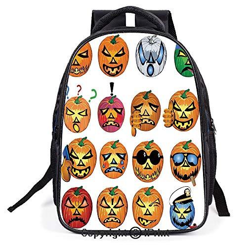 School Student Backpack Waterproof Schoolbag,Carved Pumpkin with Emoji Faces Halloween Humor Hipster Monsters Art,Lightweight Prints Book bag]()