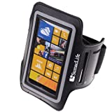 SumacLife Workout Running Armband for Nokia Lumia 1020 Nokia Lumia 920 Nokia Lumia 925 (AT&T ; Sprint ; T-Mobile) (Black-Neoprene)