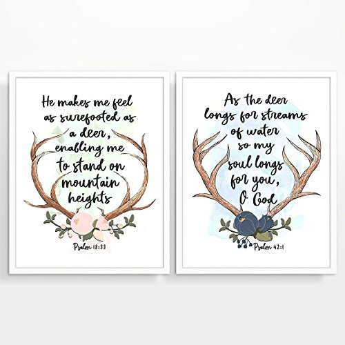 Antler Art - Psalm 18:33 & Psalm 42:1 Christian ART PRINTS Set of Two, UNFRAMED, Bible verse scripture watercolor wall decor poster, Deer Antlers art, 8x10 inches