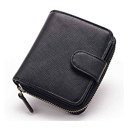 Calfskin Billfold - Womens Zipper Leather Wallet Key Bag Case Clutch Small Card Holder Purse Gift (Color - Black)