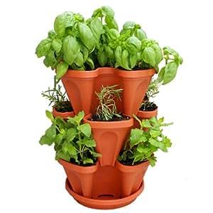 Mini Garden Stacker- Stackable & Hangable Planter / Flower Pot- Terra-Cotta