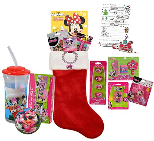 Disney Minnie Mouse Inspired Girl's All Inclusive Kids 12pc Pre-Filled Christmas Stocking! Plus Bonus