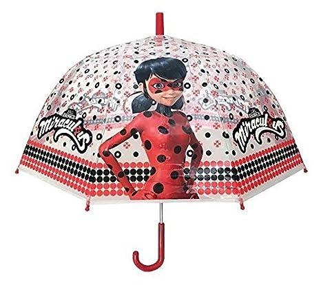 Chanos Chanos Miraculous Lady Bug Manual Dome Shape PoE Transparent Folding Umbrella, 48 cm,
