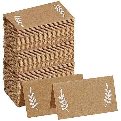 (Supla 100 Pcs Place Cards with White Laurel Leaves Kraft Paper Cards Rustic Wedding Table Name Number Blank Table Tent Cards Table Name Tags Table Card Seating Cards Buffet Table Cards)