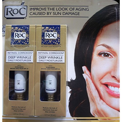 - ROC retinol correxion 2-1.0fl oz deep wrinkle daily moisturizer, 2.0 fl oz