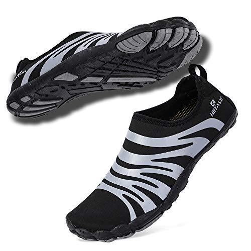 hiitave Men Barefoot Water Shoes Beach Aqua Socks Quick Dry for Outdoor Sport Hiking Running Swiming Surfing Black/Gray 10.5/11 M US Men