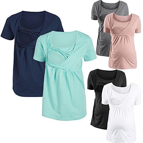 Scuro Shirt Sciolto T Unita Shirts Collo Maglietta Tinta Camicie Bluse Tops Blu Tumblr Corta Estivo Rotondo DouYuLike Multifunzione Manica Donne L'Allattamento Casual per xT7nBUYq