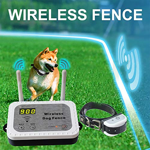 (JUSTPET Wireless Dog Fence Pet Containment System, Safe Effective No Randomly Shock Dog Fence, Control Range Up to 900 Feet & Display Distance, Rechargeable Waterproof Collar (1 Dog System))
