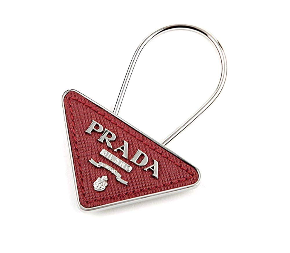Prada Triangle Logo Saffiano Leather Keyring, Rubino (Red) 2PP301