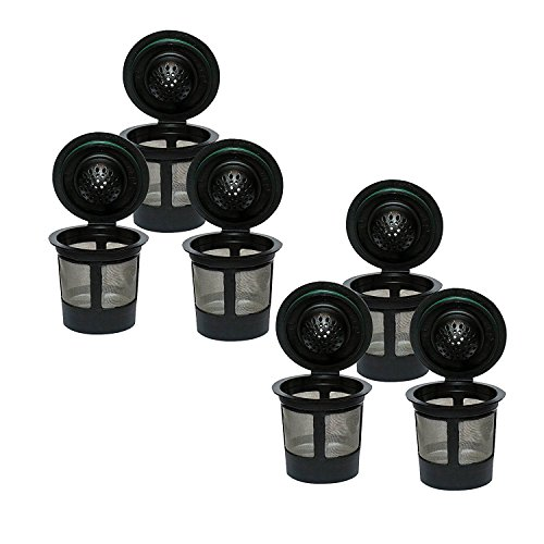 Premier Reusable Coffee Filter Pods Compatible w/ Keurig Kcup Coffee Brewer Series, Set of 6