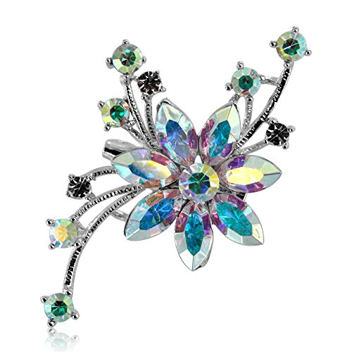 Brooch Pin by DoubleAccent Austrian Crystal Flower Brooch Pin, Choice of Colors, Multi Clear