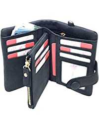 YOTOO Rfid Leather Wallets for Women Ladies Wristlet Clutch Large Capacity Zipper Purse for Coins Card Holder Organizer(Black), Medium