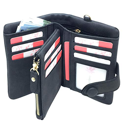 Rfid Leather Wallets for Women Ladies Wristlet Clutch Large Capacity Zipper Purse for Coins Card Holder Organizer(Black) ()