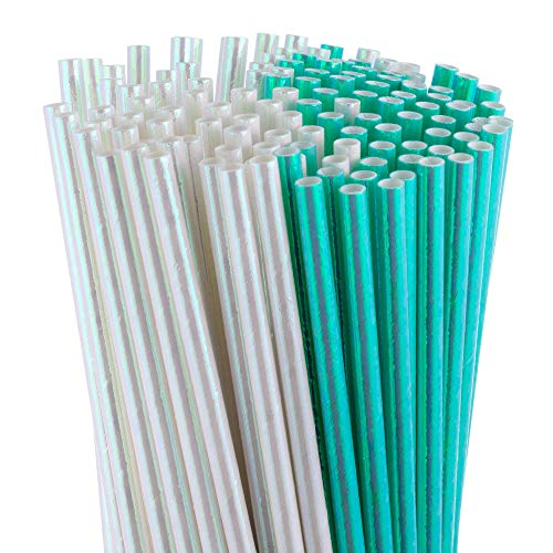SparkJoyProducts 150-Pcs Bulk - Iridescent Biodegradable Paper Straws - Aqua/Turquoise and Pearl  Bridal Showers   Baby Showers   Bachelorette Parties   Birthday Parties  ]()