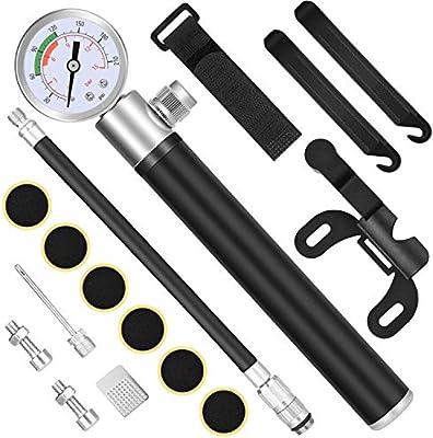 Diyife Bomba para Bicicleta con Manómetro, [210 PSI] [Set Completo] Mini Bomba de Bicicleta con Pelota Aguja, Kit de Parche y Montura de Marco para Presta y Schrader: Amazon.es: Bricolaje y herramientas