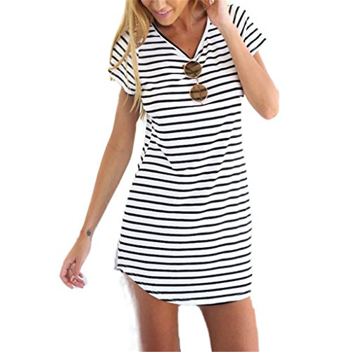 Women-DressHaoricu-Fall-Vintage-Autumn-New-Women-Crew-Neck-Short-Sleeve-Striped-Loose-T-Shirt-Dress-Casual