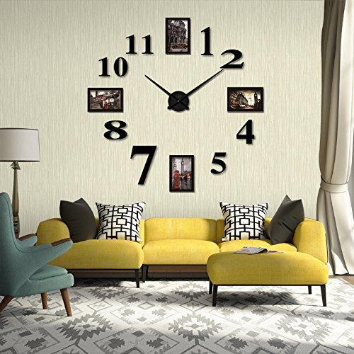 Reliable_E Modern Design Photo Frame 3D DIY Wall Clock for H