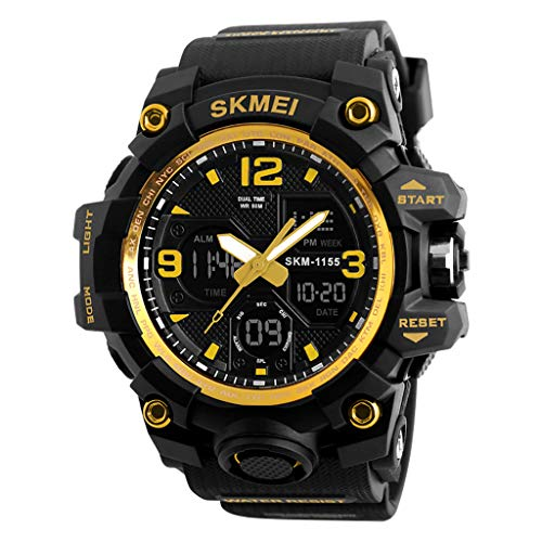 YEZIJIN 2019 New Men Sport Watch Dual Display Analog Digital LED Electronic Wrist Watches Under 10