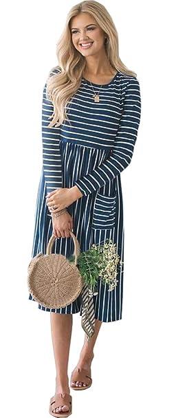 ALAIX Casual da Donna con Scollo Tondo a Righe Manica Lunga 70ddfea524d