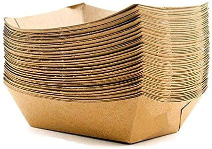 Bandejas de papel para alimentos – Cuencos de cartón Kraft (pequeños a grandes) – 50 unidades, 400ml Kraft, 100: Amazon.es: Industria, empresas y ciencia
