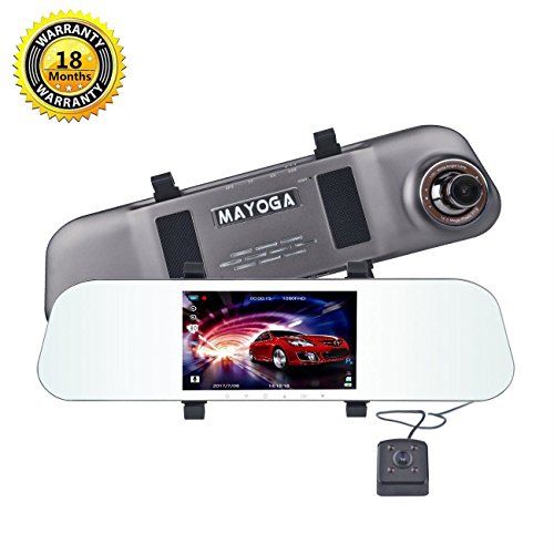 Car Dash Cam Dual Lens, MAYOGA Full HD 1080P Car Camcorder Dashboard Video Recorder Front and Rear DVR, Rearview Mirror Recorder with 170 Degree Wide Angle Lens, 5.0-Inch IPS Display Screen, G-Sensor, Motion Dection, Loop Recording, WDR Night Vision