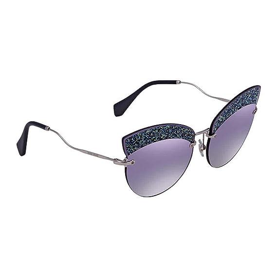 3dc97d31b016 Miu Miu MU58TS D47148 Silver MU58TS Cats Eyes Sunglasses Lens Category 3  Lens M: Amazon.co.uk: Clothing
