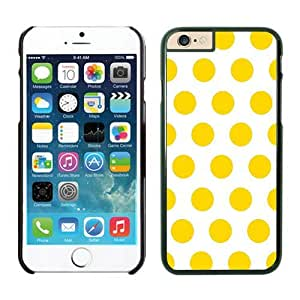 Iphone 6 Plus Case 5.5 Inches, Beautiful Polka White and Yellow Dot Ultra Fit Black Phone Protective Speck Cover Case for Apple Iphone 6 Plus Accessories by Maris's Diary