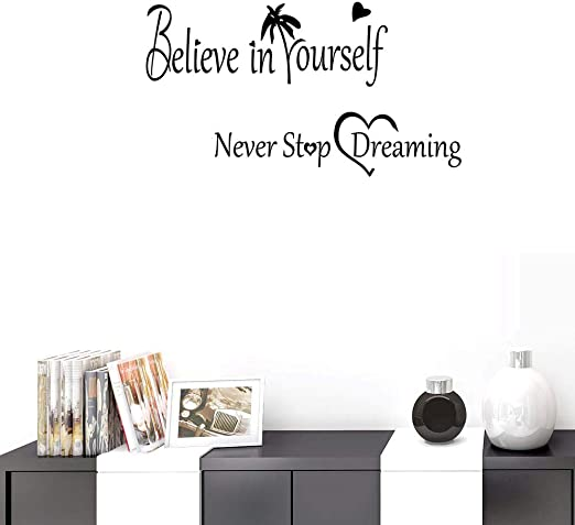 1x Never Stop Dreaming Quote Wall paper Decal PVC Sticker Kids Room Home Decor