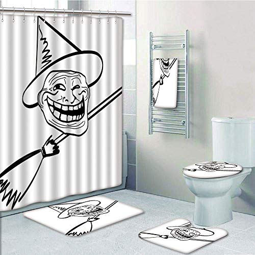 Bathroom 5 Piece Set shower curtain 3d print Multi Style,Humor Decor,Halloween Spirit Themed Witch Guy Meme Lol Joy Spooky Avatar Artful Image,Black White,Bath Mat,Bathroom Carpet Rug,Non-Slip,Bath To