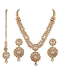 I Jewels Women's Traditional Gold Plated Kundan Necklace Set Maang Tikka White