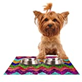 Kess InHouse Beth Engel ''Natural Flow'' Chevron Feeding Mat for Pet Bowl, 18 by 13-Inch
